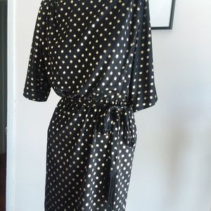 Sexy Jessica Simpson Black & Gold Polka Dot Dress